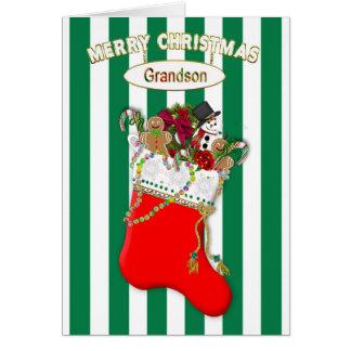 Cartão Meia do Natal da criança - neto - doces
