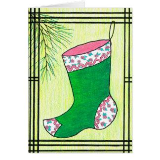 Cartão Meia verde do Natal de Hanbok