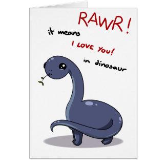 Cartão meios do rawr do brontosaurus eu te amo