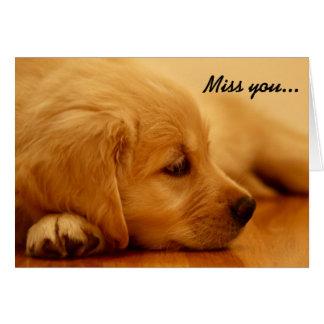 Cartão Melancolia do filhote de cachorro do golden