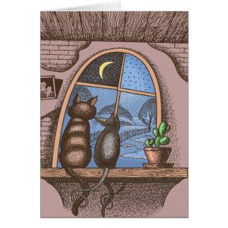 Cartão Melhores amigos para sempre, gato e rato,