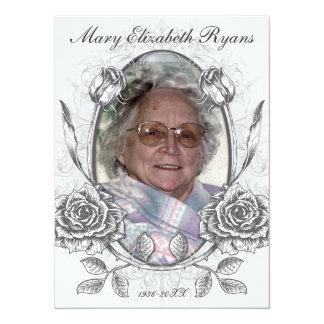 Cartão memorável do falecimento dos rosas florais convite 13.97 x 19.05cm