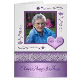 Cartão memorável roxo com foto
