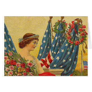 Cartão Memorial Day patriótico do vintage