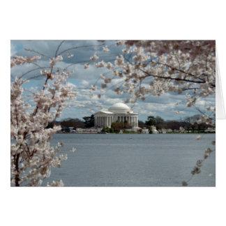 Cartão Memorial de Jefferson com flores de cerejeira