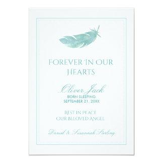 Cartão Memorial do bebê para sempre em nossa pena azul