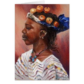 Cartão Menina ambarina do grânulo de Fulani