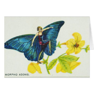 Cartão Menina azul brilhante da borboleta