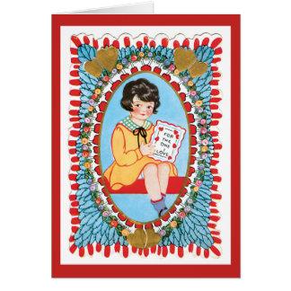 Cartão Menina azul de Wirh dos namorados do vintage