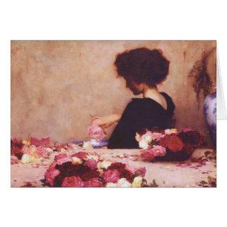 Cartão Menina bonita com flores