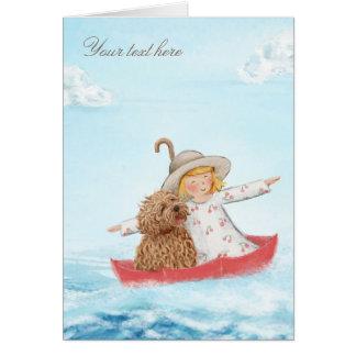Cartão Menina & cão com o guarda-chuva no mar