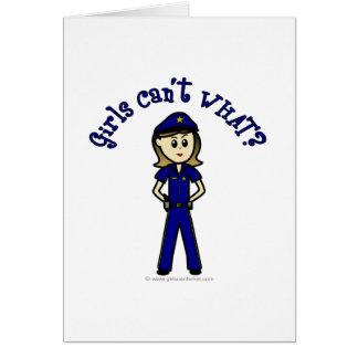 Cartão Menina clara do agente da polícia