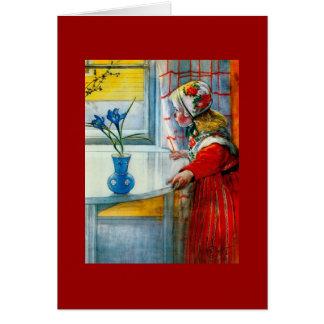 Cartão Menina com íris azul