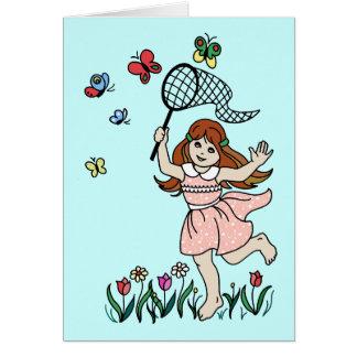 Cartão Menina com os pés descalços na rede do parque e da