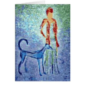 Cartão Menina com trabalhos de arte do galgo