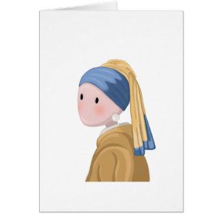 Cartão Menina com um brinco da pérola