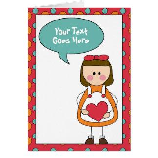 Cartão menina com um coração