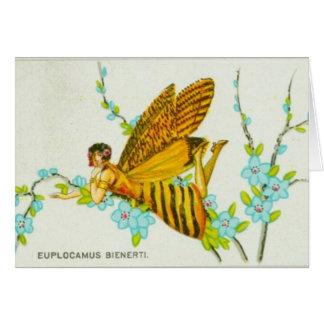 Cartão Menina da borboleta do ouro