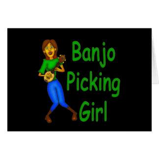 Cartão Menina da colheita do banjo