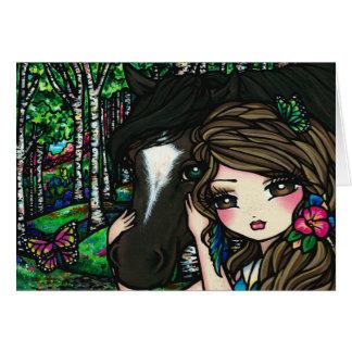 Cartão Menina da fada da fantasia da flor de borboleta da
