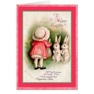 Cartão Menina da páscoa do vintage e coelhos brancos