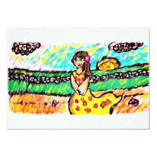 Cartão menina da praia