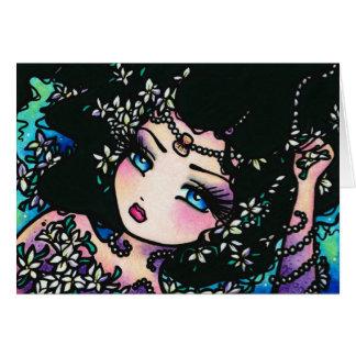 Cartão Menina da sereia da fantasia da flor do primavera