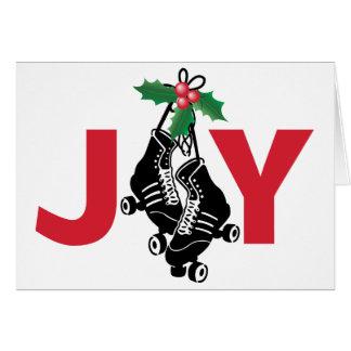 Cartão Menina de Derby do rolo, Natal patinando com