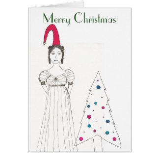 Cartão Menina de Jane Austen, chapéu flexível do Natal,