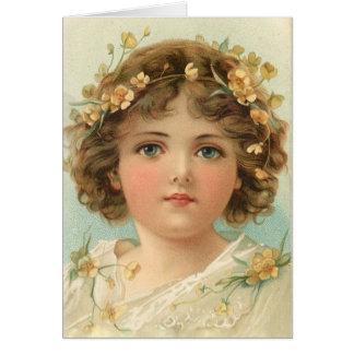 Cartão Menina de olhos azuis com ondas,