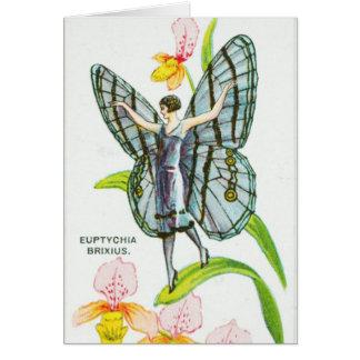 Cartão Menina de prata da borboleta