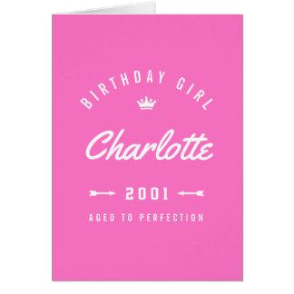 Cartão Menina do aniversário envelhecida ao rosa da