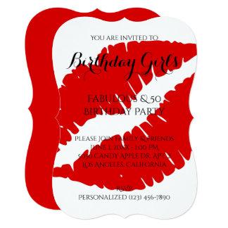 Cartão Menina do aniversário fabulosa & batom 50 vermelho