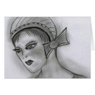 Cartão Menina do Flapper com arco