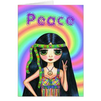Cartão menina do Hippie do sinal de paz dos anos 60 com