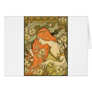 Cartão Menina do Pinup de Nouveau do francês no campo das