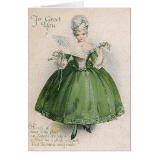 Cartão Menina do Victorian do vintage no Dia de São