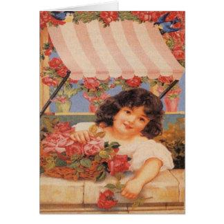 Cartão Menina do Victorian que vende flores