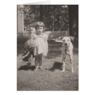 Cartão menina do vintage, boneca e cão cartão-pequenos de