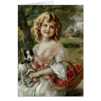 Cartão Menina do vintage com a cesta das cerejas,
