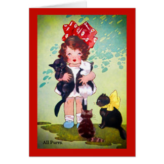 Cartão Menina do vintage com arte dos gatinhos