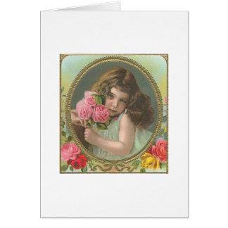 Cartão Menina do Vintage com rosas