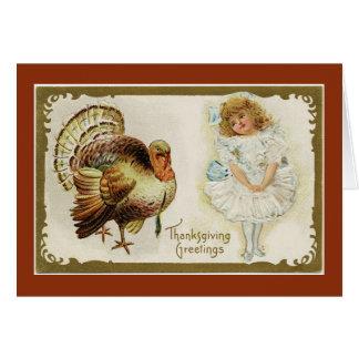 Cartão Menina do vintage com Turquia