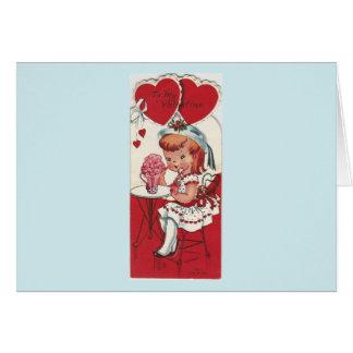 Cartão Menina do vintage com uns namorados do batido