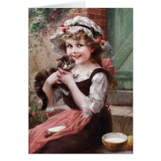 Cartão Menina do vintage e seu gatinho,