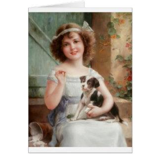 Cartão Menina do vintage & seu filhote de cachorro
