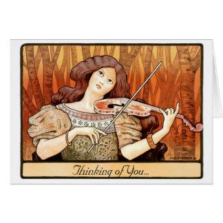 Cartão Menina do violino de Nouveau da arte
