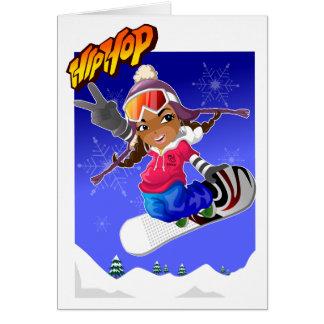 Cartão Menina dos desenhos animados de Hip Hop no