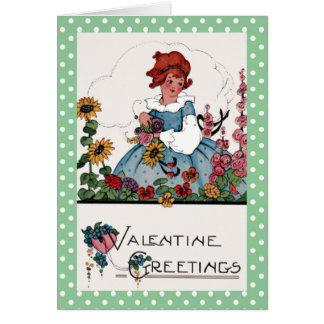 Cartão Menina em namorados do jardim