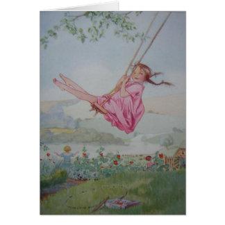 Cartão Menina em um balanço,